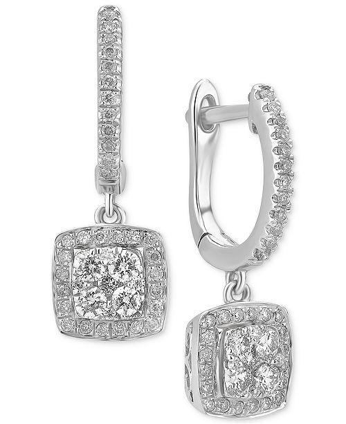 a08e396d9 Macy's Diamond Cluster Dangle Hoop Earrings (1/2 ct. t.w.) in 14k ...