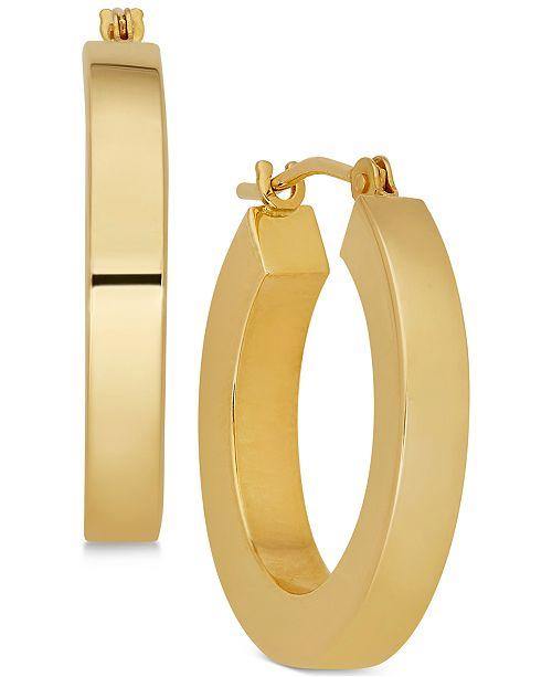 Polished Chunky Flat Edge Hoop Earrings In 14k Gold