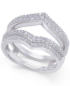 Diamond Double V Solitaire Enhancer Ring Guard (1/2 ct. t.w.) in 14k White Gold