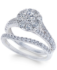 Diamond Cluster Bridal Set (1-1/2 ct. t.w.) in 14k White Gold