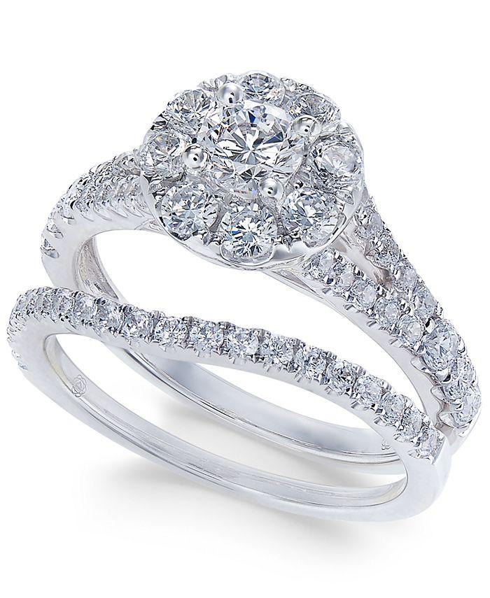Macy's - Diamond Cluster Bridal Set (1-1/2 ct. t.w.) in 14k White Gold