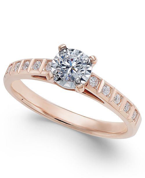 Macy's Diamond Miracle-Plate Engagement Ring (3/8 ct. t.w.) in 14k Rose Gold