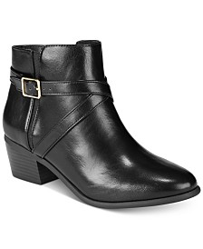 Karen Scott Womens Falonn Faux Leather Stacked Heel Booties