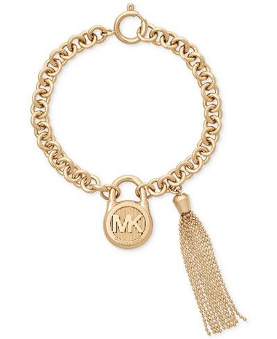 Michael Kors Logo Padlock & Chain Tassel Link Bracelet