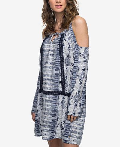 Roxy Juniors' Printed Cold-Shoulder Dress
