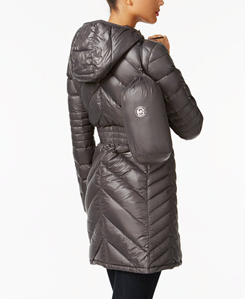 Michael Michael Kors Petite Chevron Quilted Packable Down Coat