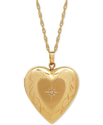 Diamond Accent Heart Locket Pendant Necklace in 10k Gold