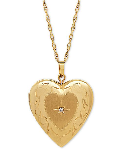 heart dp white locket diamond gold quot accent with necklace