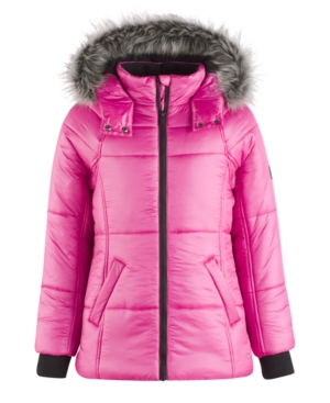 Calvin Klein Expedition Hooded Puffer Coat with Faux Fur Trim Big Girls (716)
