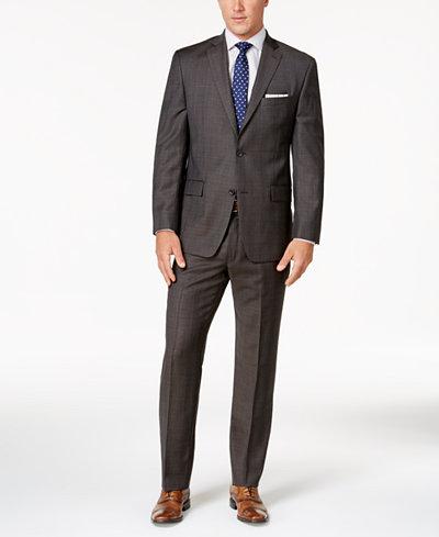 Michael Kors Men's Classic-Fit Chocolate Brown Plaid Suit - Suits ...
