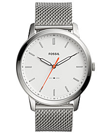 Fossil Men's Minimalist Stainless Steel Mesh Bracelet Watch 44mm