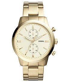 Fossil Men's Chronograph Townsman Gold-Tone Stainless Steel Bracelet Watch 44mm