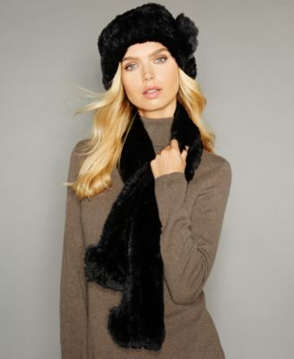 The Fur Vault Rosette Knitted Rex Rabbit Fur Hat - The Fur Vault ... 7889a7a267e