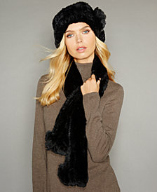 The Fur Vault Rosette Knitted Rex Rabbit Fur Hat & Scarf