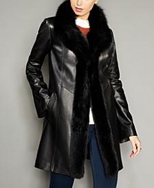 Fox-Trim Lamb Leather Coat