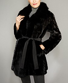 Fox-Fur-Trim Mink Fur Reversible Coat