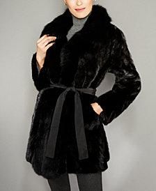 The Fur Vault Fox-Fur-Trim Mink Fur Reversible Coat