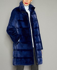 Striped Mink Fur Coat