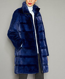 The Fur Vault Striped Mink Fur Coat