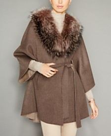 The Fur Vault Fox-Fur-Trim Belted Wool-Blend Cape
