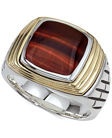 Esquire Men's Jewelry Tiger's Eye (12 x 10mm) Ring in Sterling Silver & 14k Gold, Created For Macy's