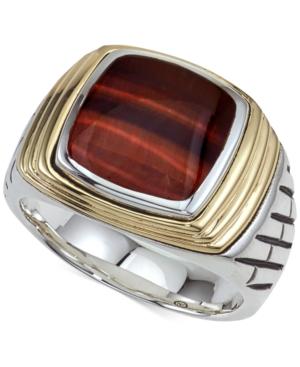 Tiger's Eye (12 x 10mm) Ring in Sterling Silver & 14k Gold