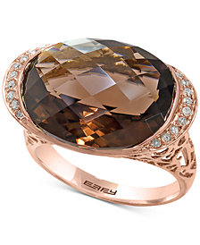 Sienna by EFFY® Smoky Quartz (11-9/10 ct. t.w.) & Diamond (1/10 ct. t.w.) Ring in 14k Rose Gold