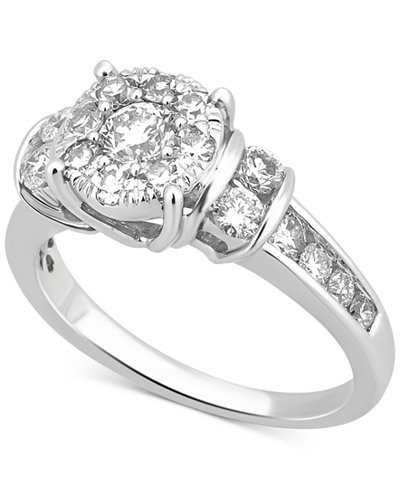 Diamond Cluster Channel-Set Ring (1-1/4 ct. t.w.) in 14k White Gold