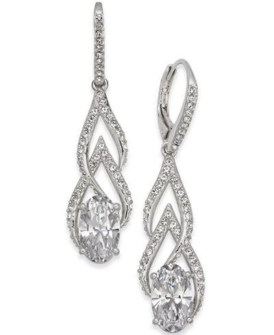 Danori Silver-Tone Crystal & Pavé Drop Earrings, Created for Macy's
