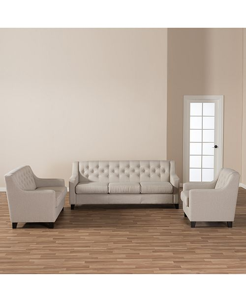 SUNDAY THEORY Arcadia Modern Button-Tufted 3-Pc. Living