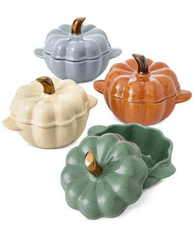 Martha Stewart Collection 4 Pc Ceramic Pumpkin Cocotte