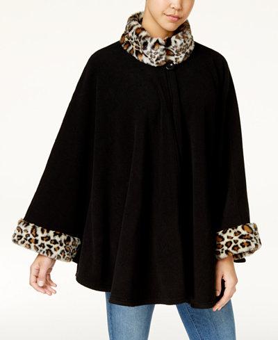 Cejon Leopard Print Faux Fur & Fleece Cape