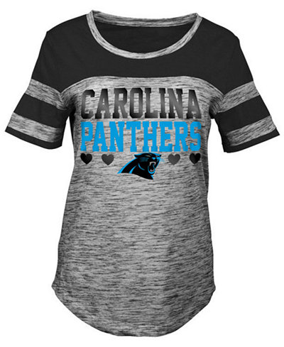 5th & Ocean Carolina Panthers Space Dye Foil Heart T-Shirt, Girls (4-16)