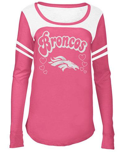 5th & Ocean Denver Broncos Pink Slub Long Sleeve T-Shirt, Girls (4-16)