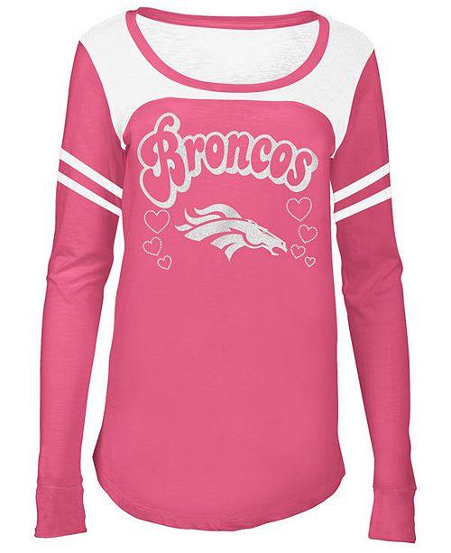 92ae8630 5th & Ocean Denver Broncos Pink Slub Long Sleeve T-Shirt, Girls (4 ...