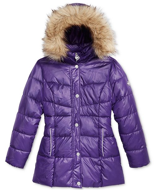 0760757d6fc3 Michael Kors Stadium Puffer Jacket with Faux-Fur Trim