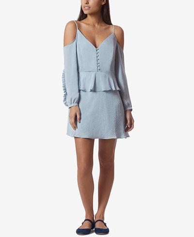 Avec Les Filles Cold-Shoulder Ruffled Mini Dress
