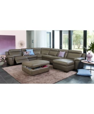 Furniture CLOSEOUT! Julius Leather Power Reclining Sectional Sofa  Collection, Created For Macyu0027s   Furniture   Macyu0027s