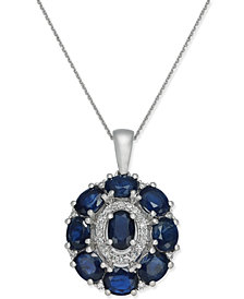 Sapphire (4-1/4 ct. t.w.) & Diamond (1/8 ct. t.w.) Oval Cluster Pendant Necklace in 14k White Gold