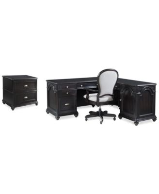 Clinton Hill Ebony Home Office Furniture Set, 3-Pc. Set (L-Shaped Desk, Lateral File Cabinet & Upholstered Desk Chair), Created for Macy's