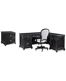 Clinton Hill Ebony Home Office Set, 3-Pc. Set (L-Shaped Desk, Lateral File Cabinet & Upholstered Desk Chair), Created for Macy's
