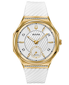 Bulova Women's Curv Diamond Accent White Rubber Strap Watch 41mm