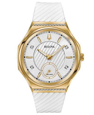 Bulova Women's Curv Diamond Accent White Rubber Strap Watch 41mm