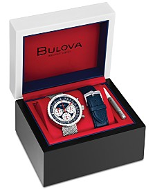LIMITED EDITION Bulova Men's Chronograph Special Edition Stainless Steel Mesh Bracelet Watch with Interchangeable Blue Leather Strap 50mm