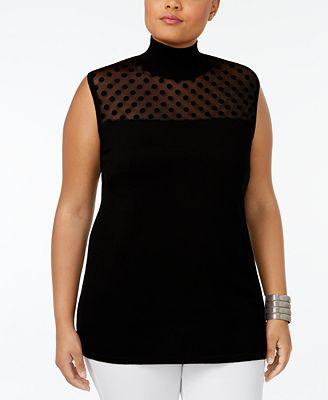 August Silk Plus Size Mock-Neck Illusion Sweater