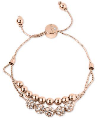 GUESS Rose GoldTone Pav Beaded DoubleRow Slider Bracelet