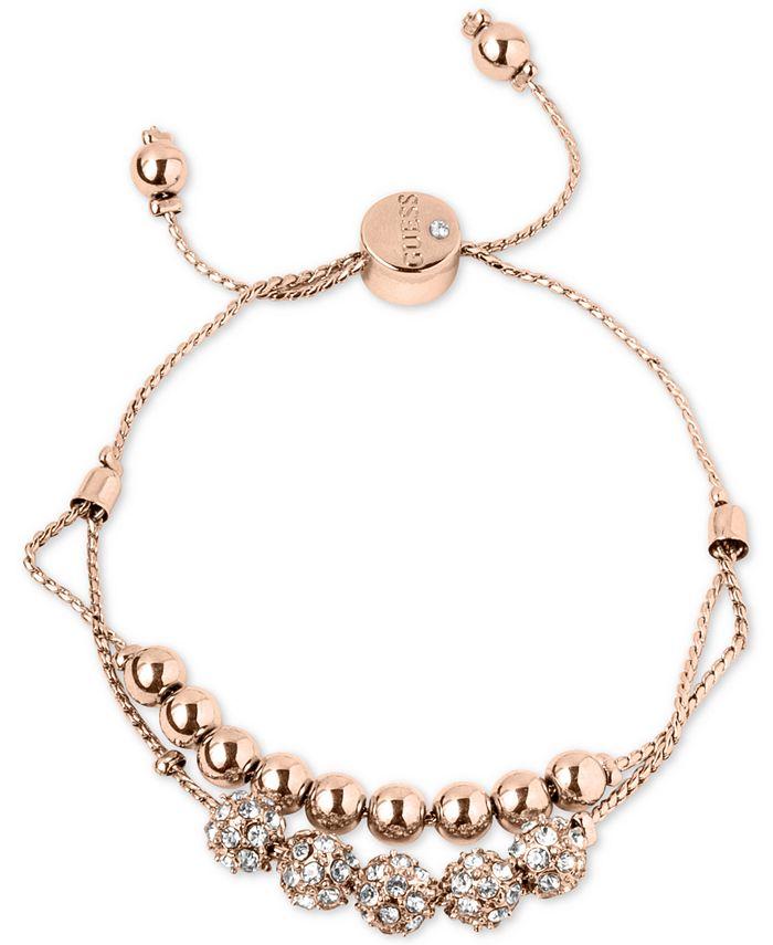 GUESS - Rose Gold-Tone Pavé Beaded Double-Row Slider Bracelet