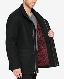 Men's Hidden-Placket Wool Coat