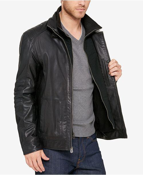 017fbfa8f343 Cole Haan Men's Leather Bomber Jacket & Reviews - Coats & Jackets ...