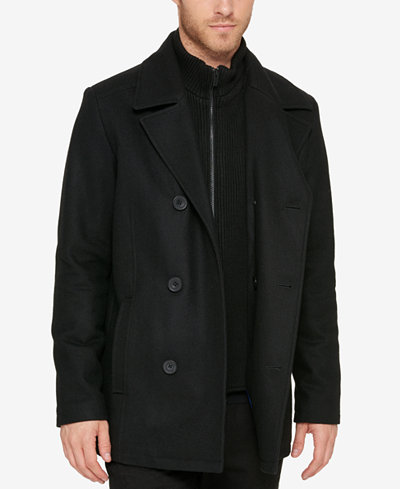 Kenneth Cole Reaction Men's Bibbed Pea Coat - Coats & Jackets ...